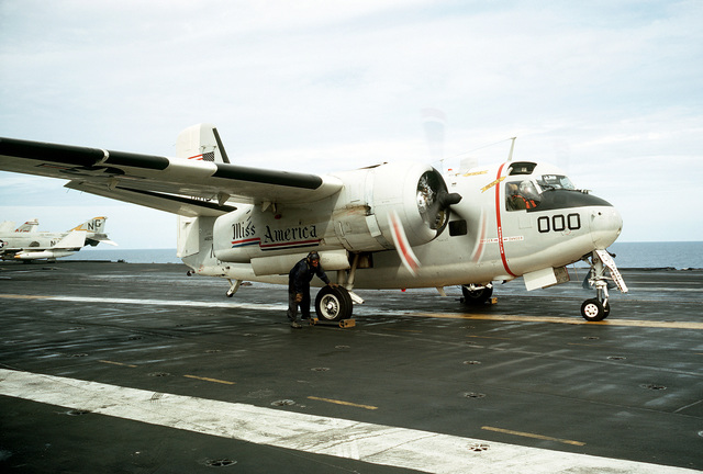 A right side view of a C-1 Trader aircraft on the flight deck of the attack aircraft carrier USS AMERICA (CVA-66)