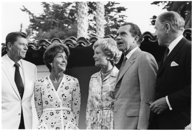 Governor Ronald Reagan, Nancy Reagan, President Richard Nixon, Pat Nixon and Senator George Murphy at the Western White House, La Casa Pacifica, in San Clemente, California