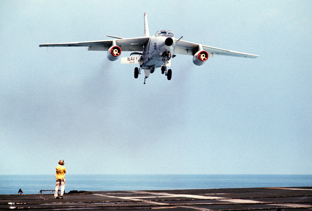 A Tactical Electronic Warfare Squadron 132 (VAQ-132) A-3D Skywarrior aircraft approaches for a landing aboard the attack aircraft carrier USS AMERICA (CVA-66)