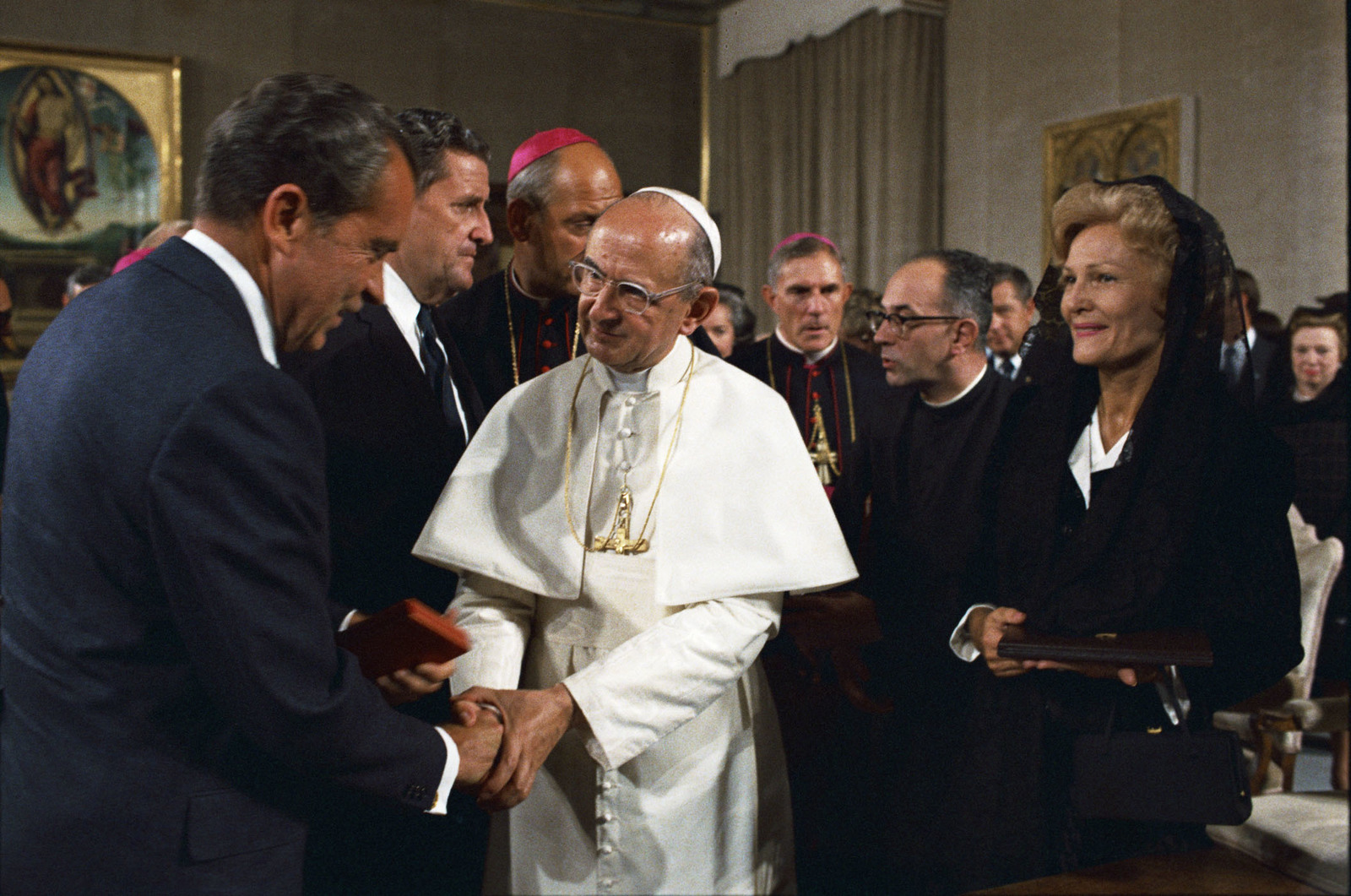 President Richard Nixon and Pope Paul VI Shaking Hands