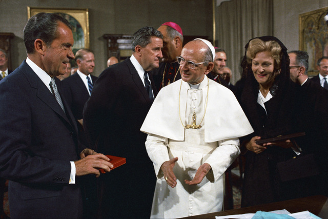 President Richard Nixon Meeting with Pope Paul VI during a Visit to the Vatican