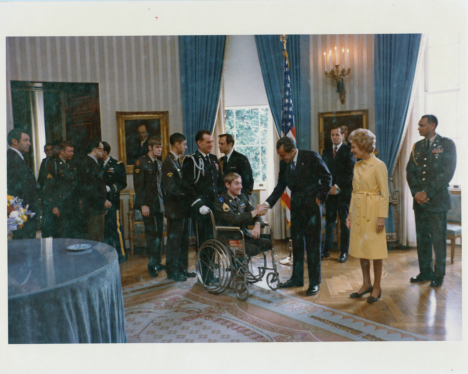 Richard and Pat Nixon Greet Veteran Servicemen and Servicewomen prior to Sharing a Thanksgiving Luncheon Together