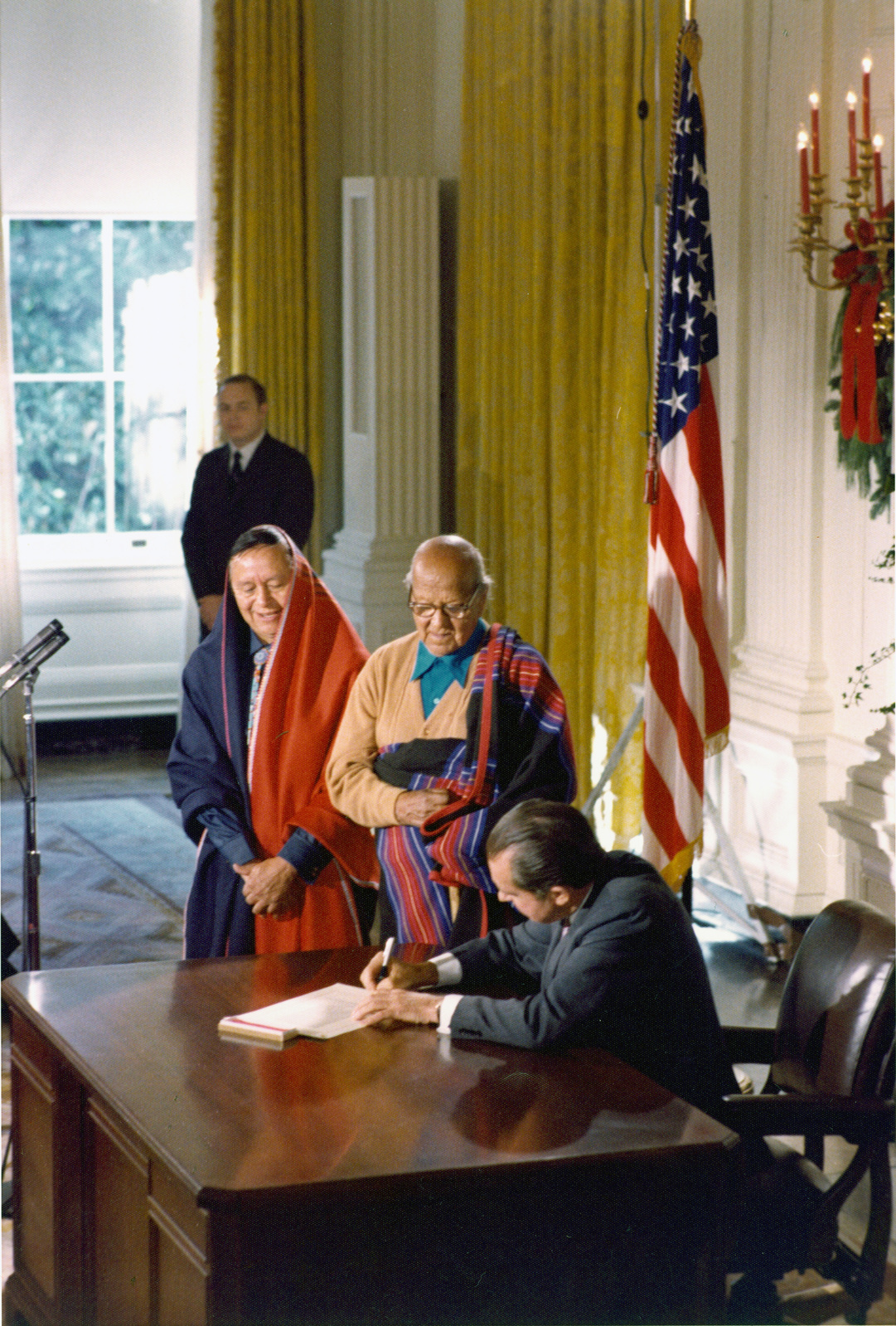 President Richard Nixon Speaking to Attendees at Signing Ceremony for the Blue Lake Bill, HR 471, which Deeded Lands to Taos and Pueblo Indians