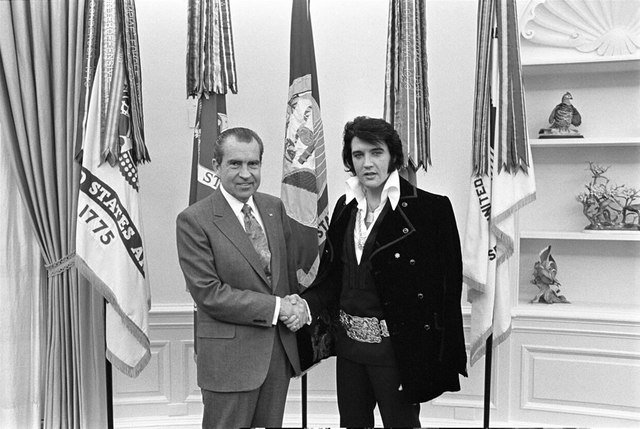 Photograph of Richard M. Nixon and Elvis Presley at the White House