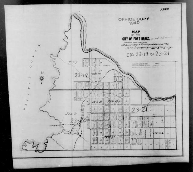 1940 Census Enumeration District Maps - California - Mendocino County - Fort Bragg - ED 23-19, ED 23-20, ED 23-21