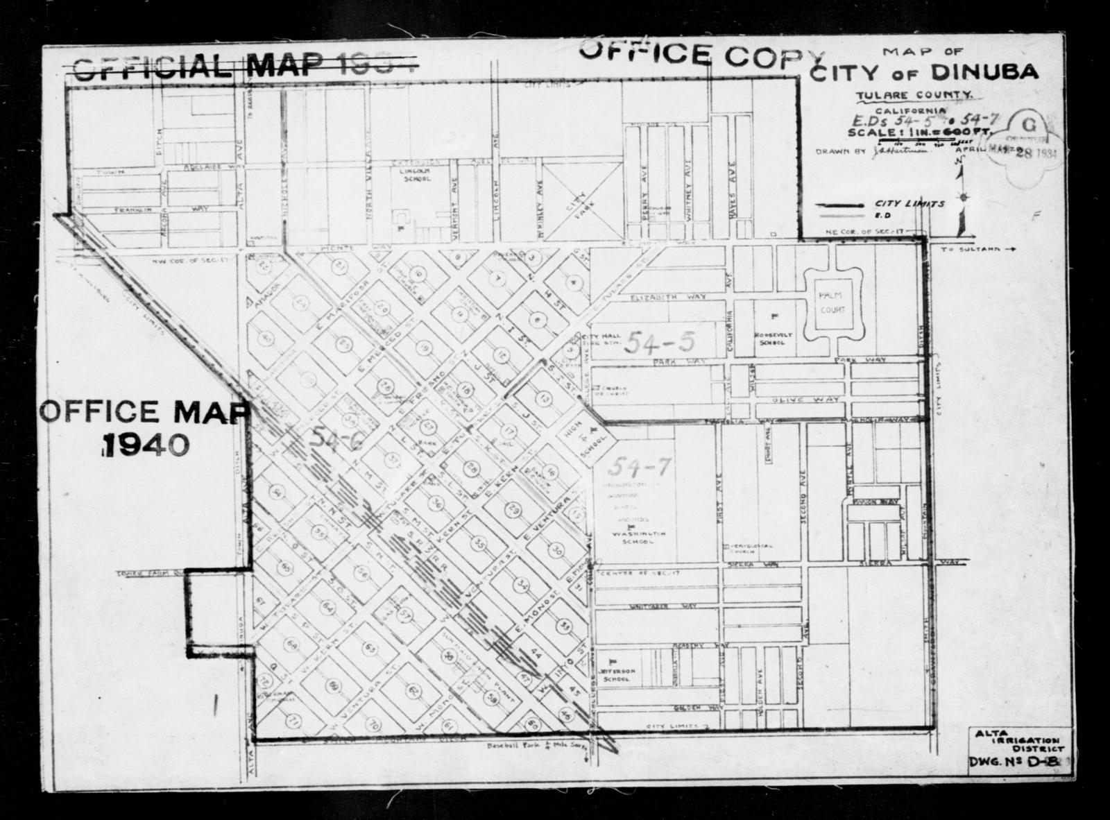 1940 Census Enumeration District Maps - California - Tulare