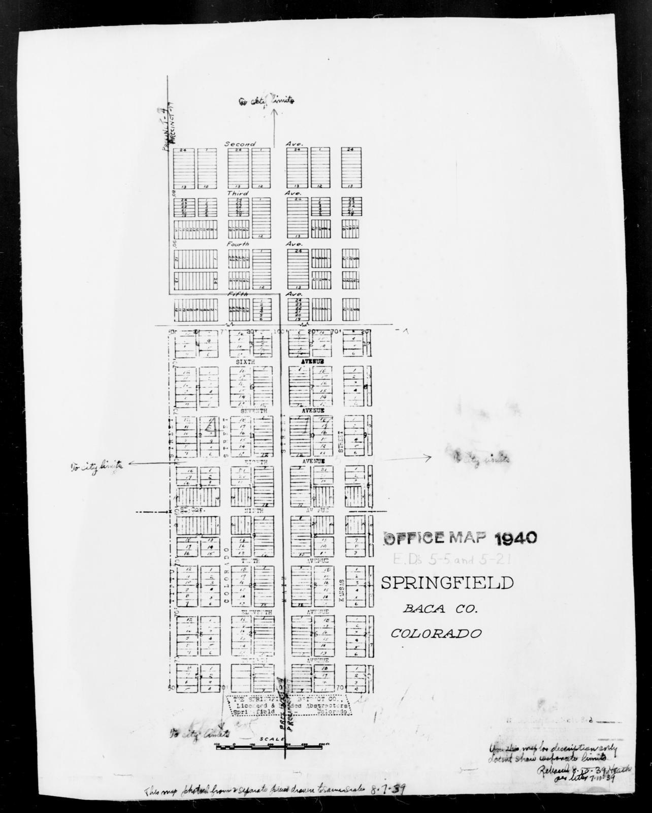 Springfield Colorado Map.1940 Census Enumeration District Maps Colorado Baca County