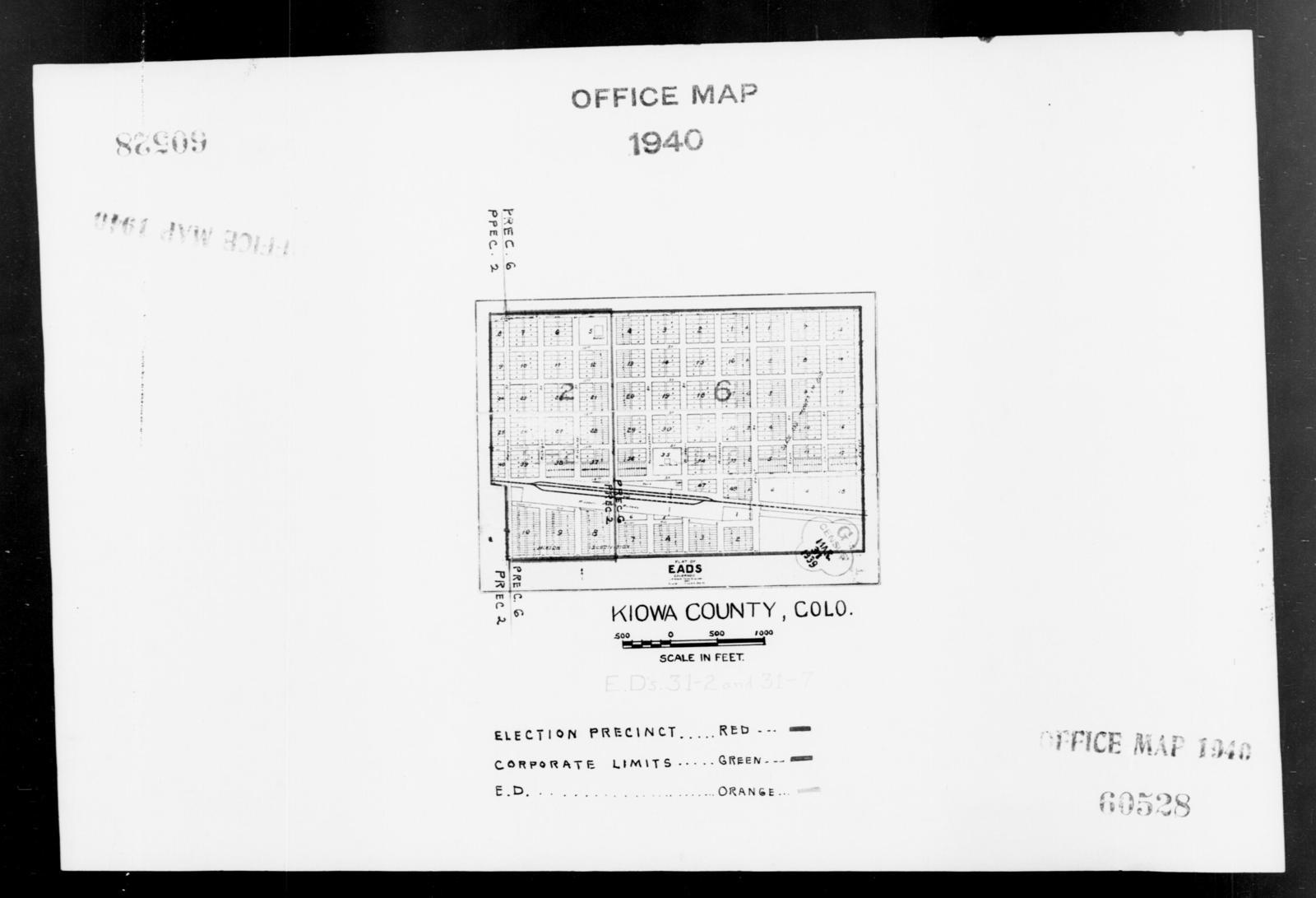 1940 Census Enumeration District Maps Colorado Kiowa County