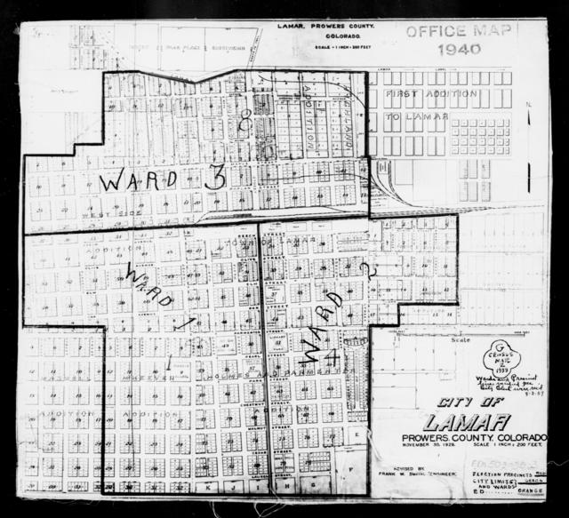 1940 Census Enumeration District Maps - Colorado - Prowers County - Lamar - ED 50-1, ED 50-2, ED 50-3