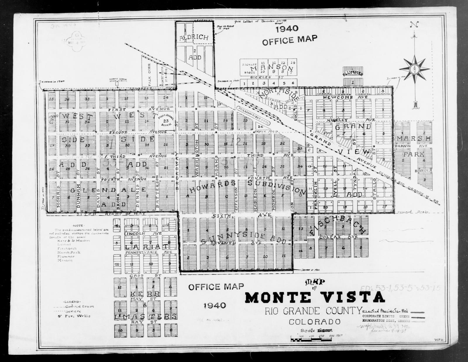 1940 Census Enumeration District Maps Colorado Rio Grande County