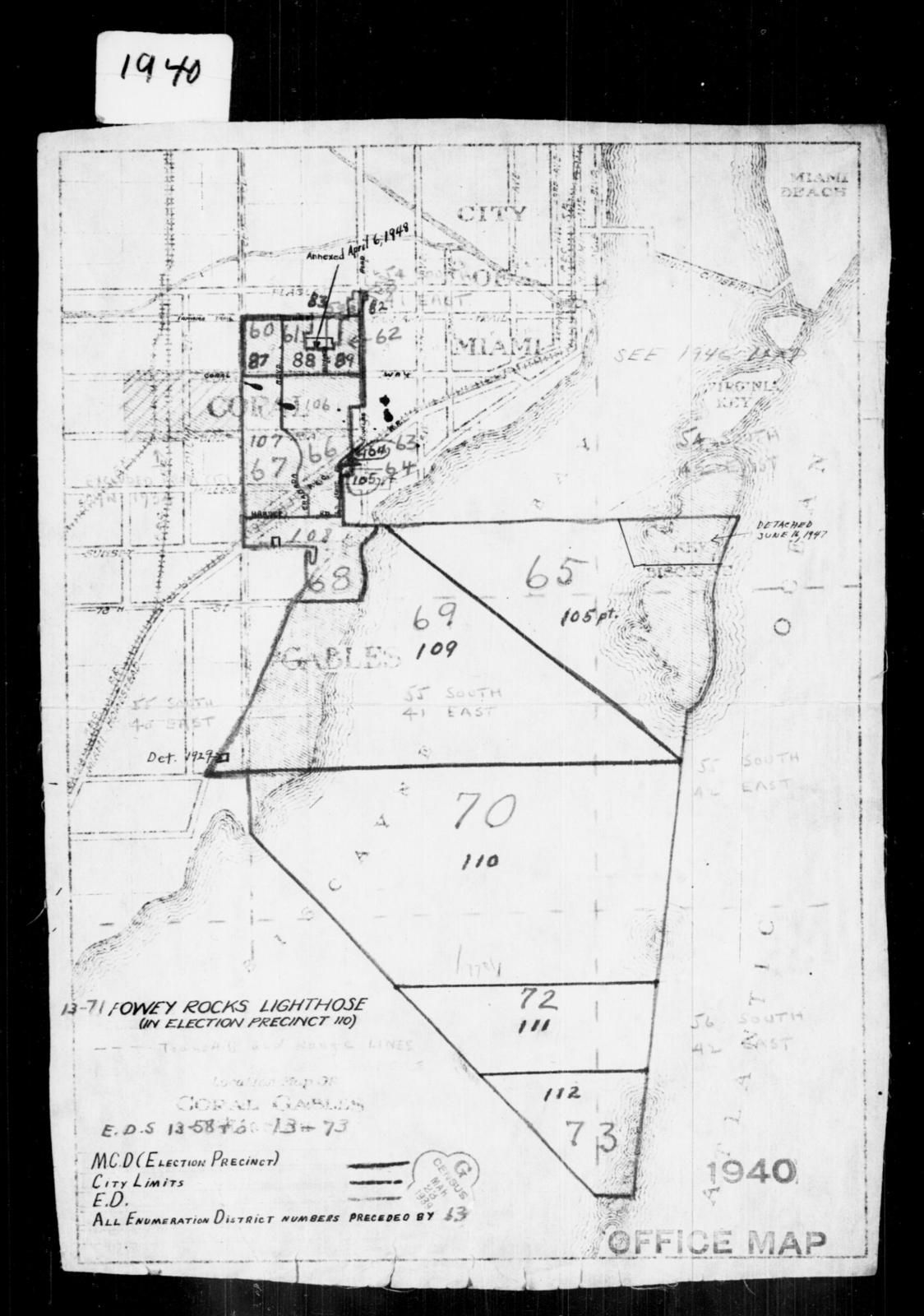 Coral Gables Map Florida.1940 Census Enumeration District Maps Florida Dade County