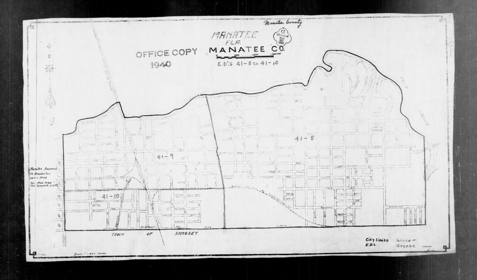 1940 Census Enumeration District Maps Florida Manatee County
