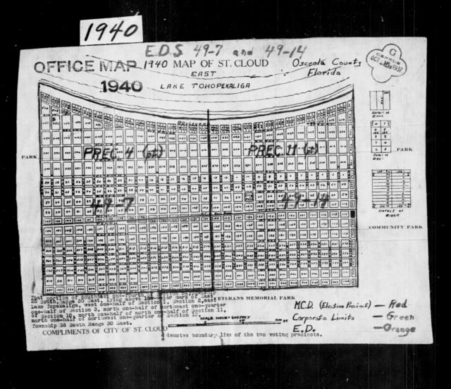 1940 Census Enumeration District Maps - Florida - Osceola County - St. Cloud - ED 49-7, ED 49-14