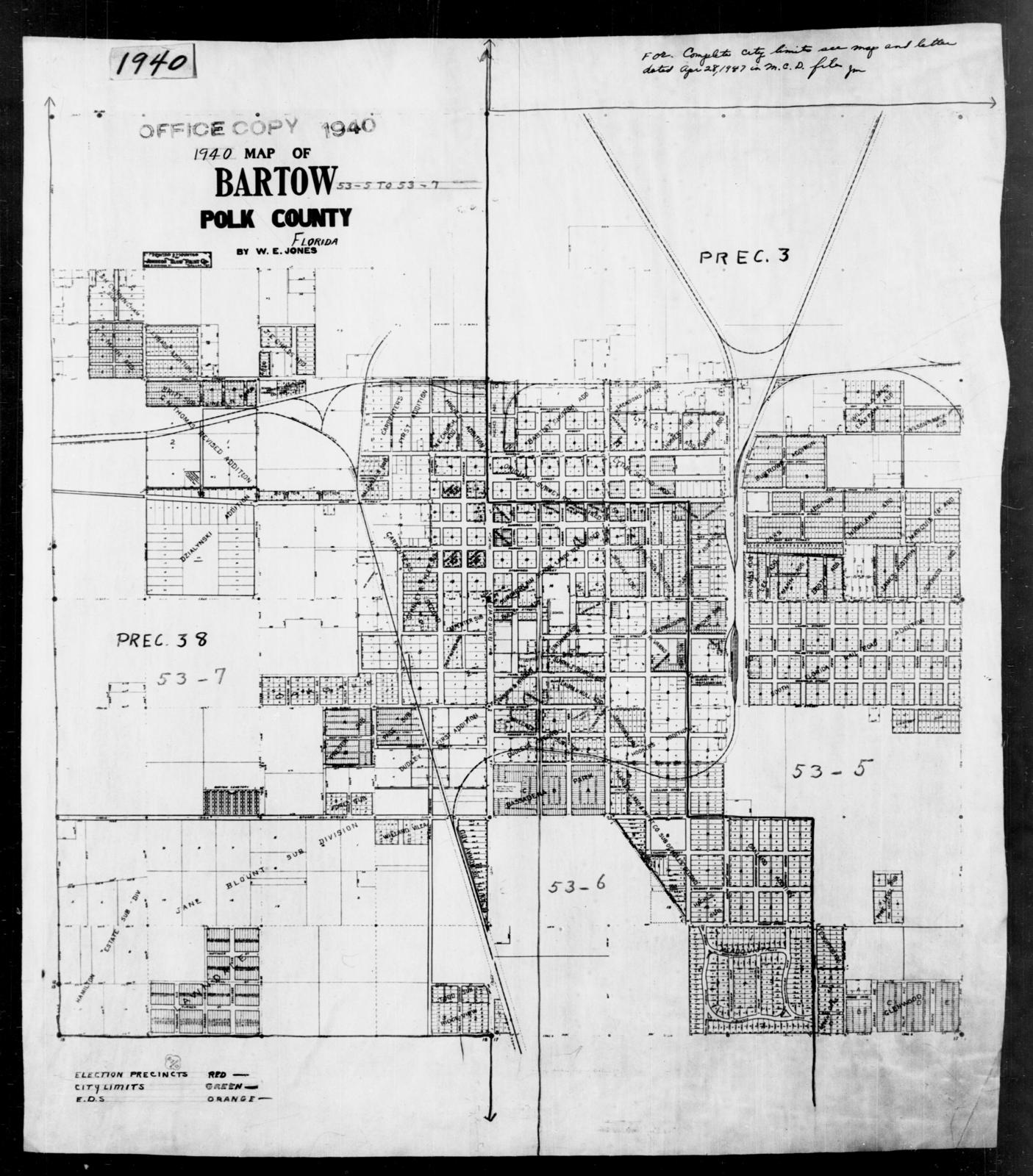 1940 Census Enumeration District Maps Florida Polk County