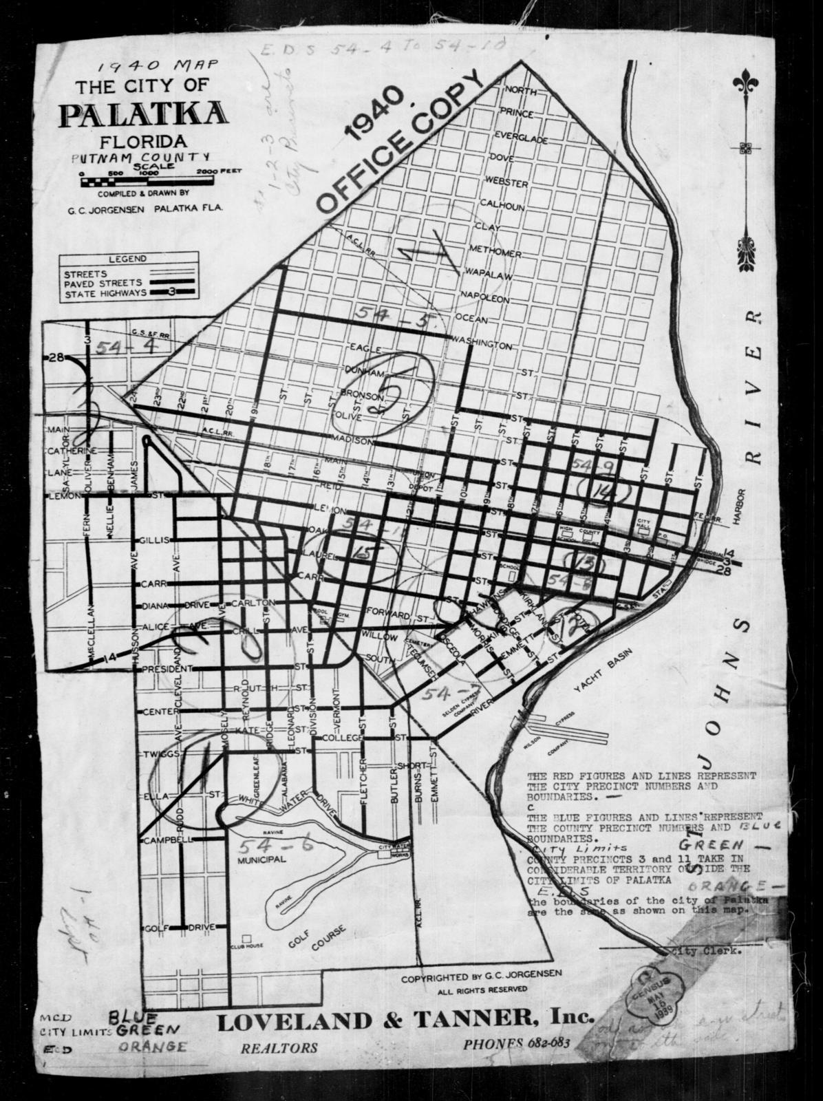 Palatka Florida Map.1940 Census Enumeration District Maps Florida Putnam County