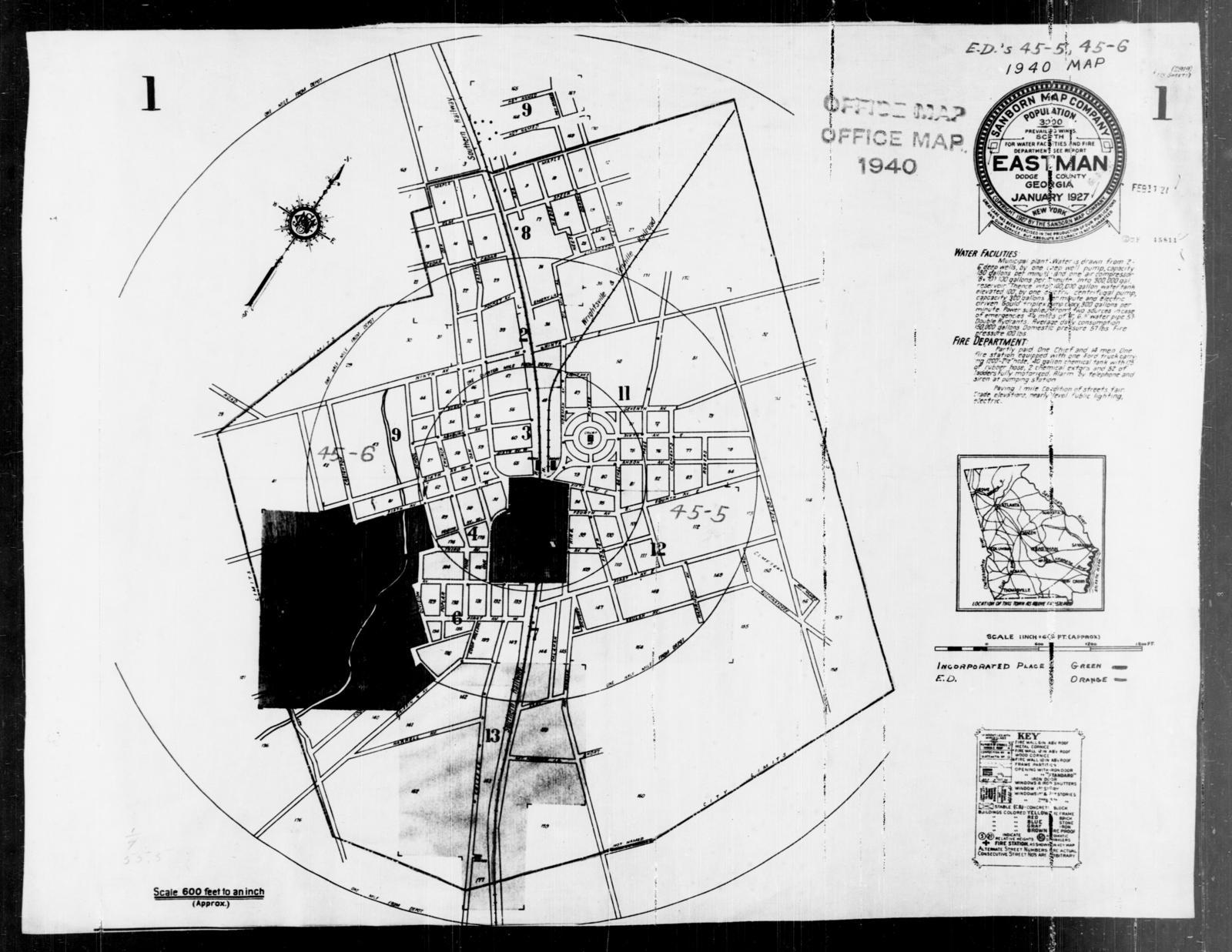 1940 Census Enumeration District Maps Georgia Dodge County