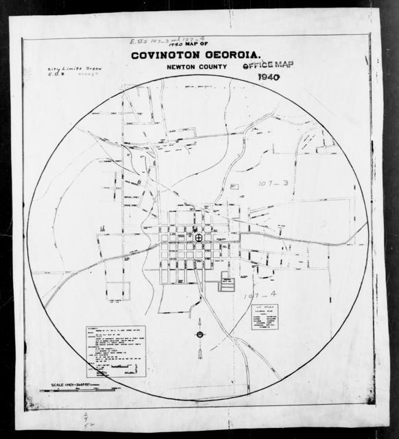 1940 Census Enumeration District Maps - Georgia - Newton County - Covington - ED 107-3, ED 107-4