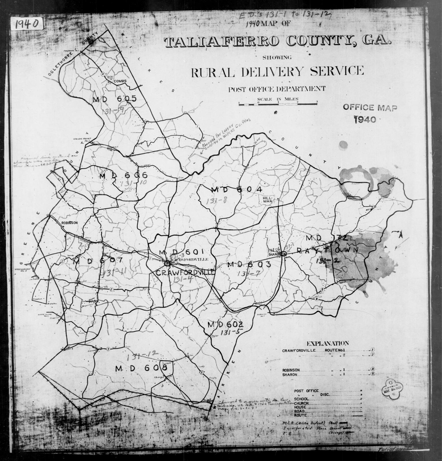 Map Of Georgia By County.1940 Census Enumeration District Maps Georgia Taliaferro County
