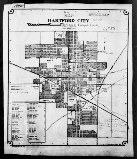 1940 Census Enumeration District Maps - Indiana - Blackford County - Hartford City - ED 5-5, ED 5-6, ED 5-7, ED 5-8, ED 5-9A, ED 5-9B