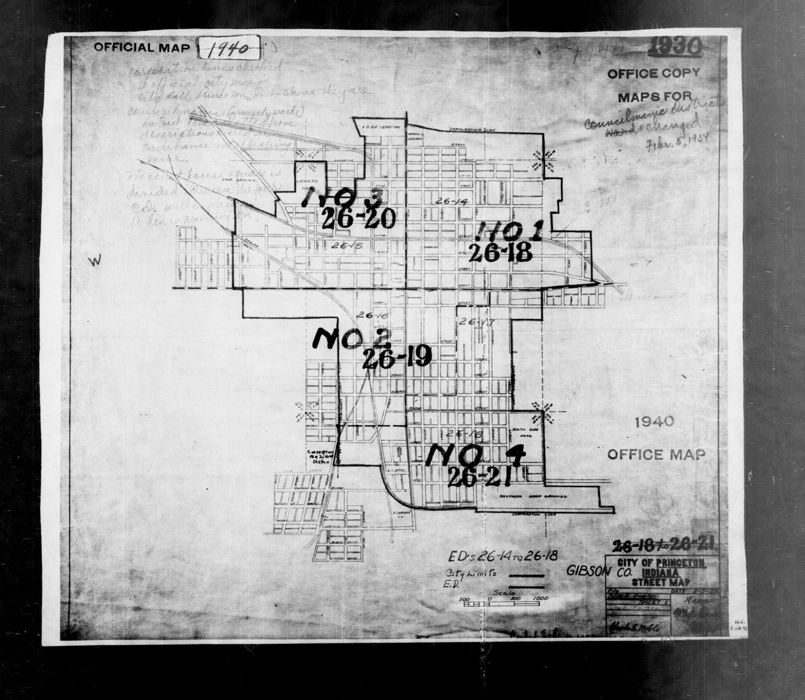 Gibson County Indiana Map.1940 Census Enumeration District Maps Indiana Gibson County