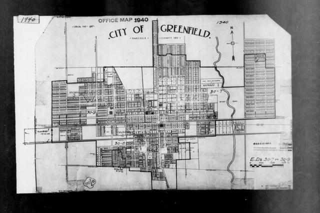 1940 Census Enumeration District Maps - Indiana - Hancock County - Greenfield - ED 30-7, ED 30-8, ED 30-9