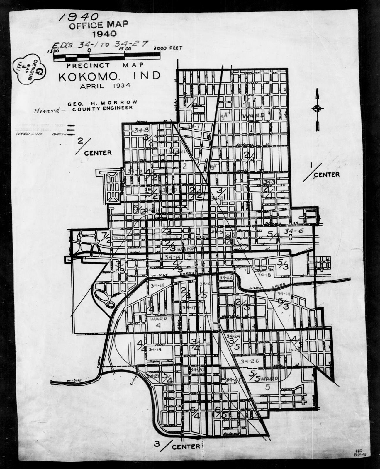 Howard County Indiana Map.1940 Census Enumeration District Maps Indiana Howard County