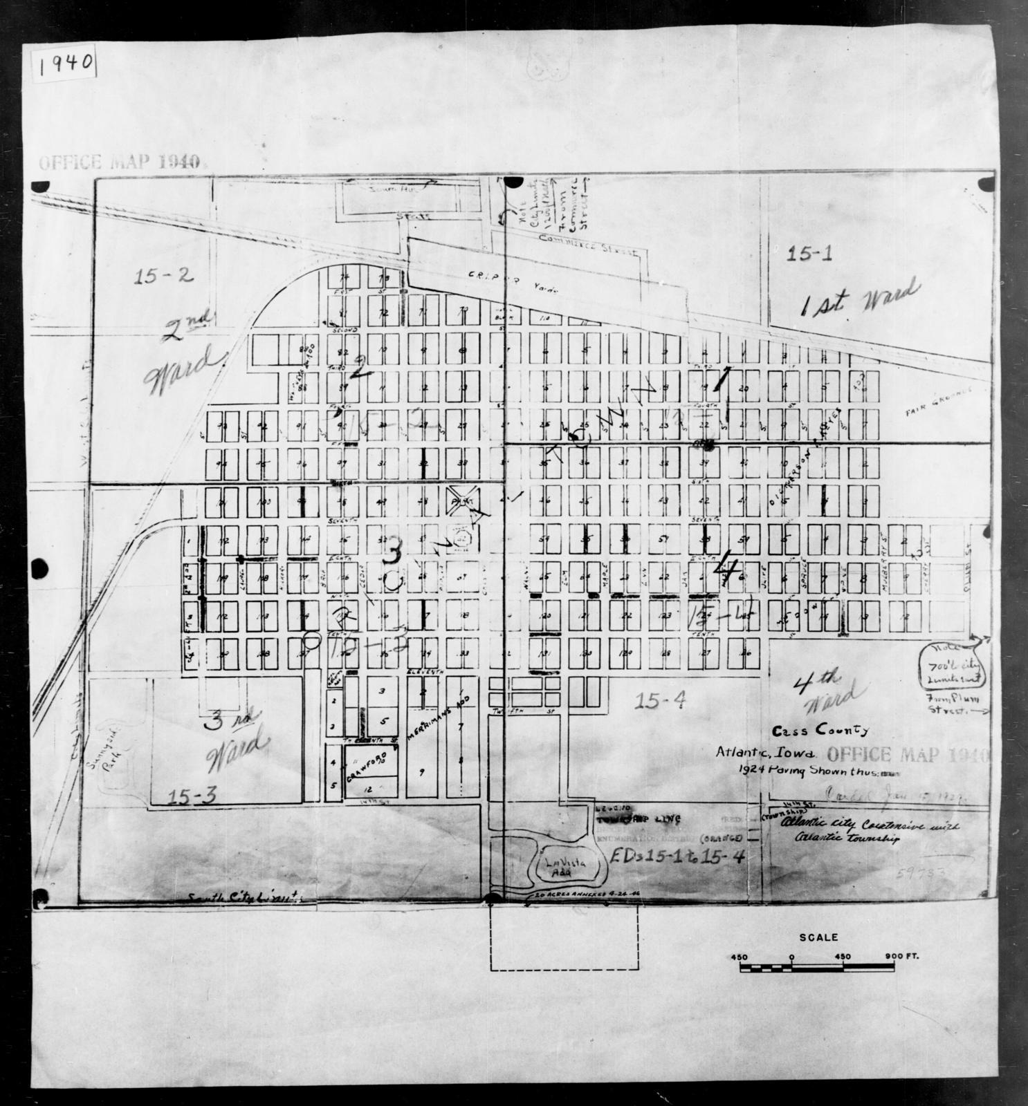 1940 Census Enumeration District Maps - Iowa - Cass County - Atlantic - ED 15-1, ED 15-2, ED 15-3A, ED 15-3B, ED 15-4A, ED 15-4B