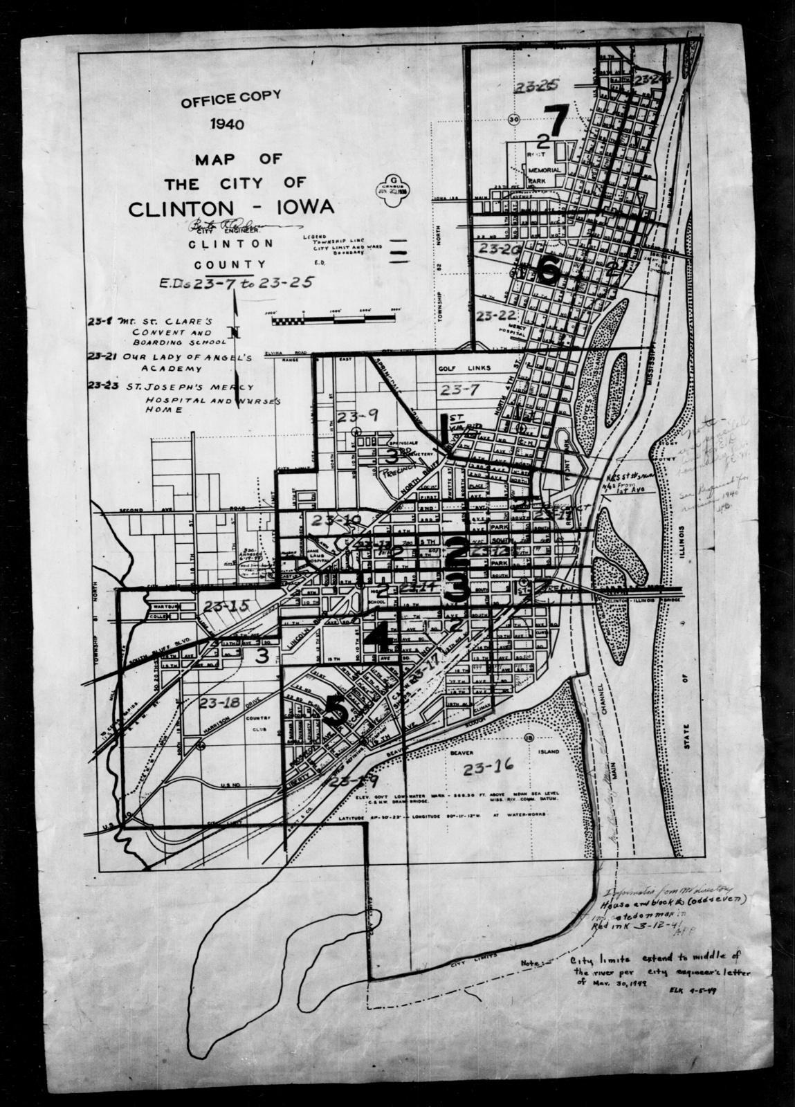 1940 Census Enumeration District Maps Iowa Clinton County