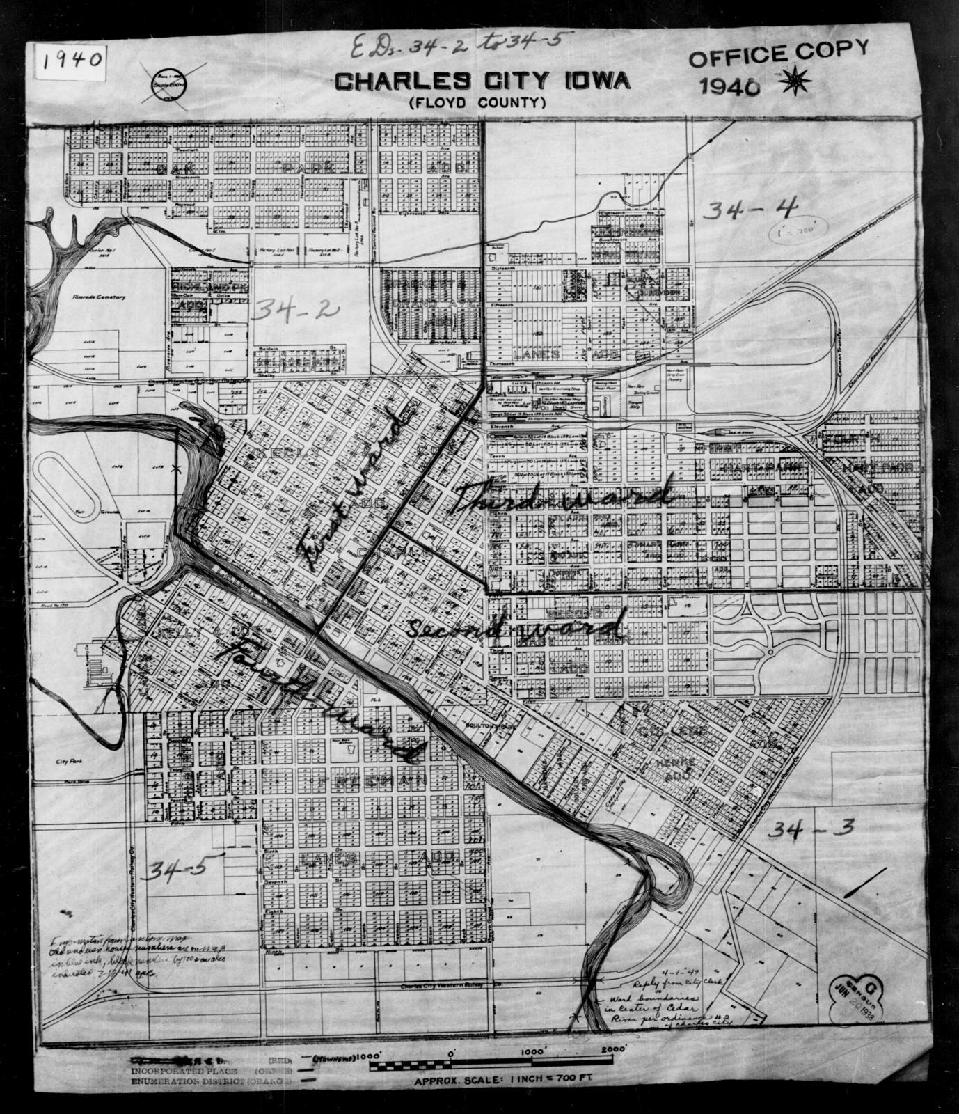 1940 Census Enumeration District Maps Iowa Floyd County
