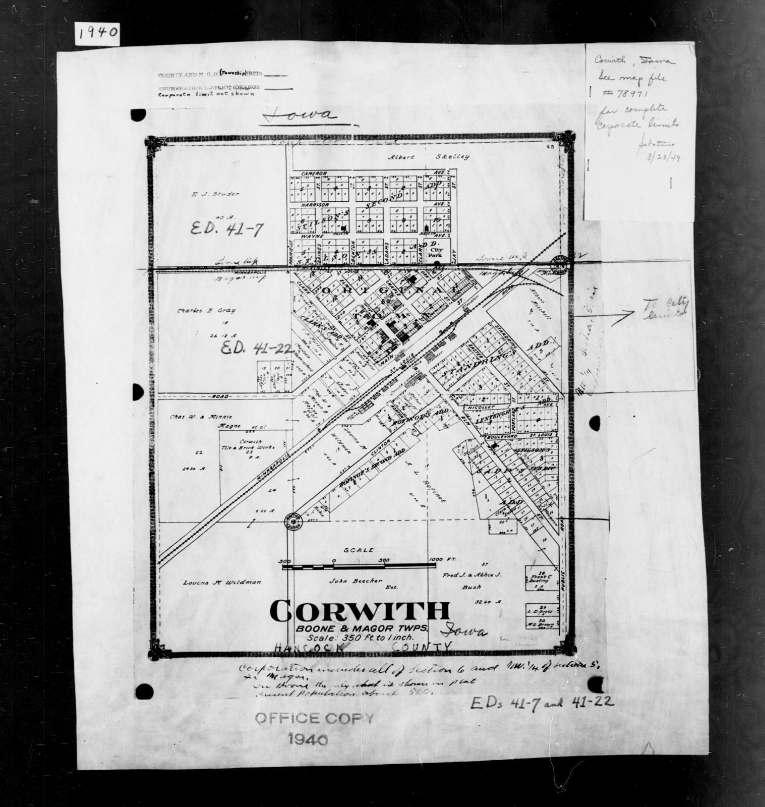 1940 Census Enumeration District Maps - Iowa - Hancock