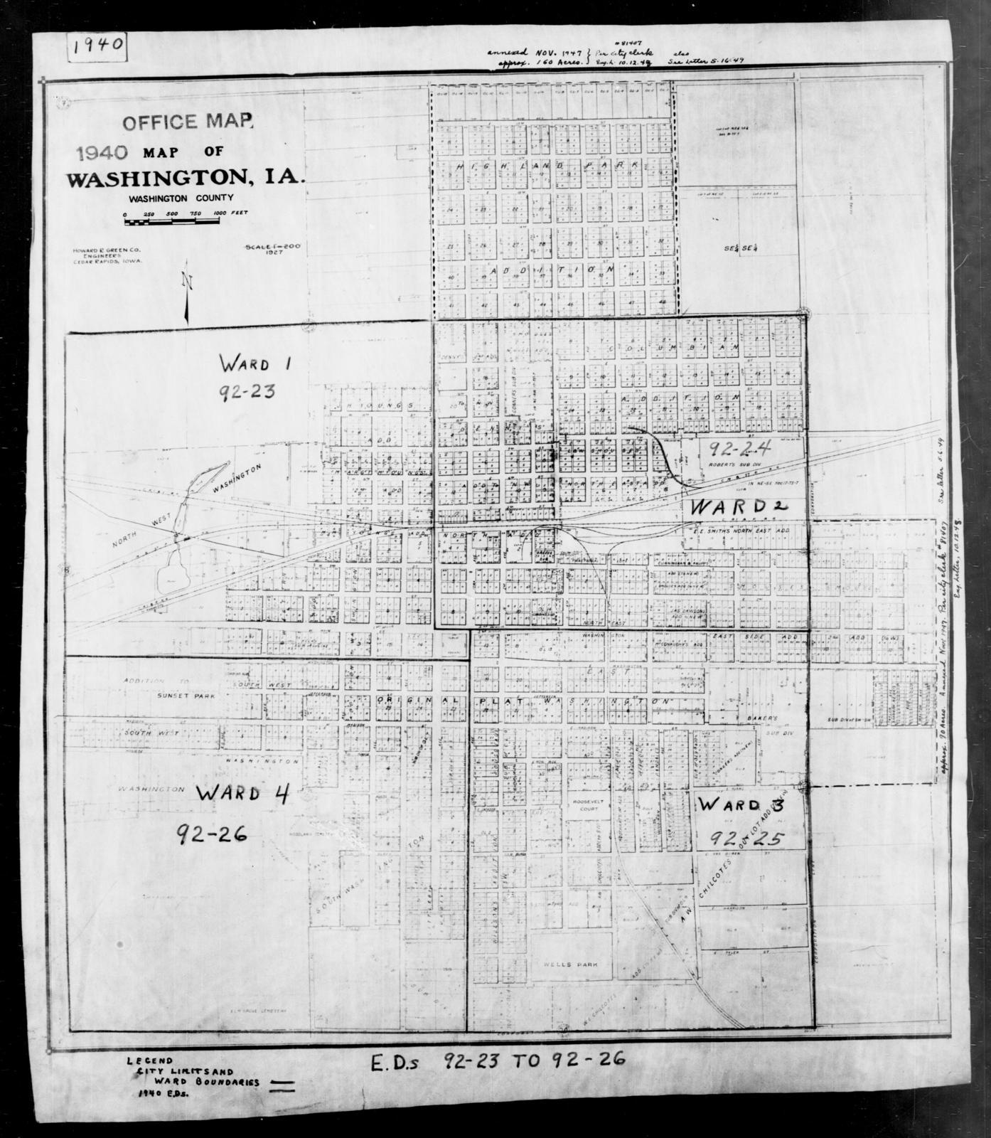 Washington County Iowa Map.1940 Census Enumeration District Maps Iowa Washington County