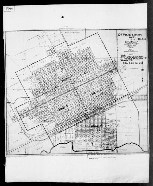1940 Census Enumeration District Maps - Louisiana (LA) - Acadia Parish - Crowley - ED 1-22, ED 1-23, ED 1-24, ED 1-25, ED 1-26