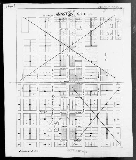 1940 Census Enumeration District Maps - Louisiana (LA) - Claiborne Parish - Junction City - ED 14-28