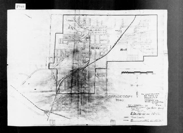 1940 Census Enumeration District Maps - Louisiana (LA) - DeSoto Parish - Mansfield - ED 16-11, ED 16-12