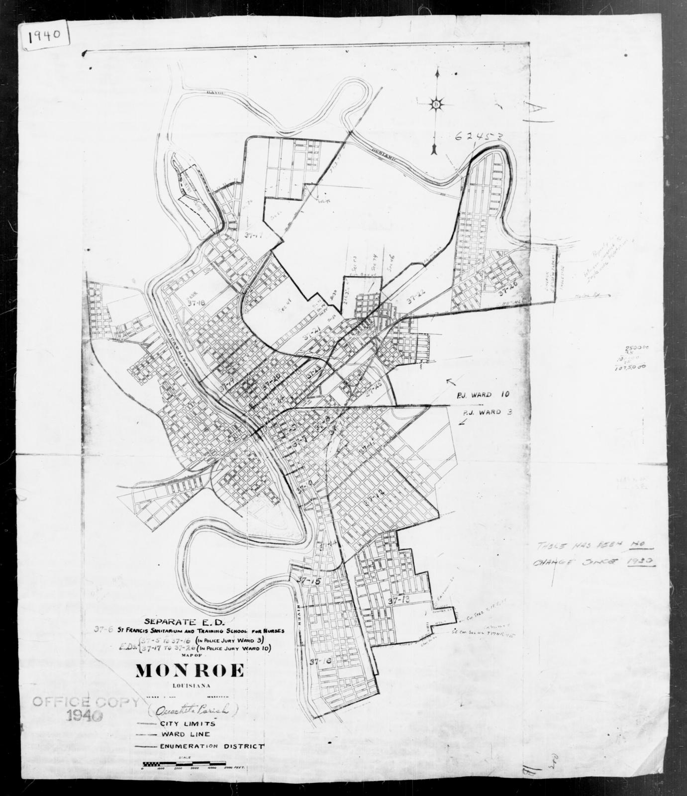 1940 Census Enumeration District Maps - Louisiana (LA) - Ouachita Parish - Monroe - ED 37-5 - ED 37-26