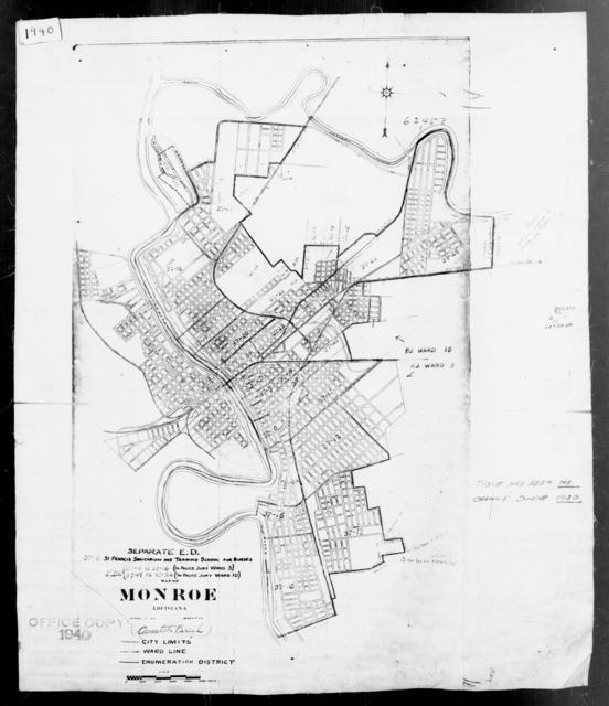1940 Census Enumeration District Maps - Louisiana (LA) - Ouachita Parish - Monroe - ED 37-5 - ED 37-26