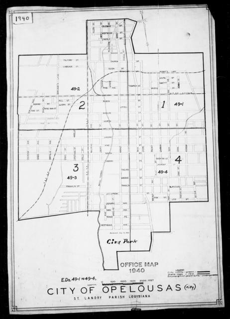 1940 Census Enumeration District Maps - Louisiana (LA) - St. Landry Parish - Opelousas - ED 49-1, ED 49-2, ED 49-3, ED 49-4