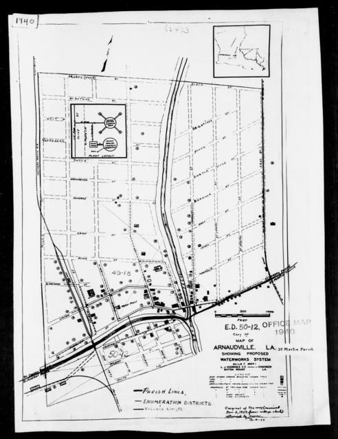 1940 Census Enumeration District Maps - Louisiana (LA) - St. Martin Parish - Arnaudville - ED 50-12