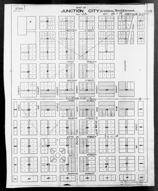 1940 Census Enumeration District Maps - Louisiana (LA) - Union Parish - Junction City - ED 56-18