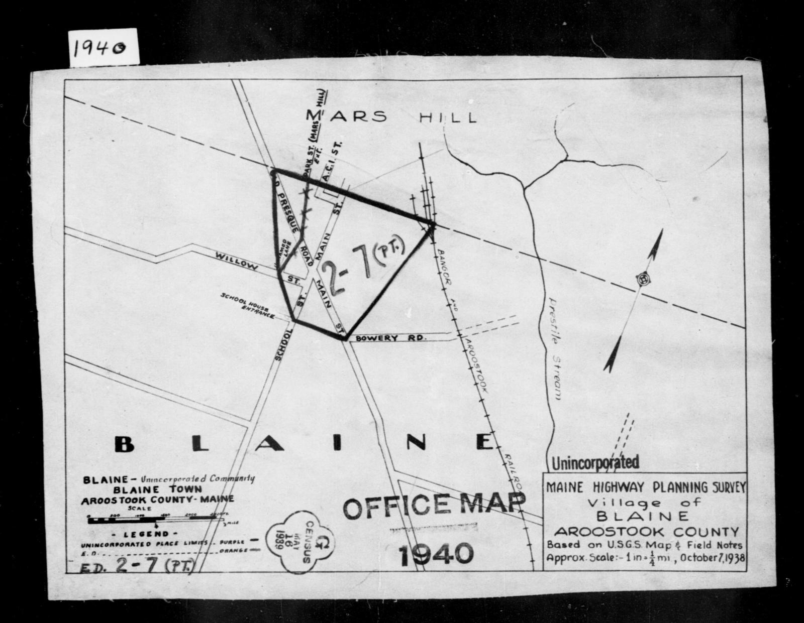 1940 Census Enumeration District Maps Maine Aroostook County