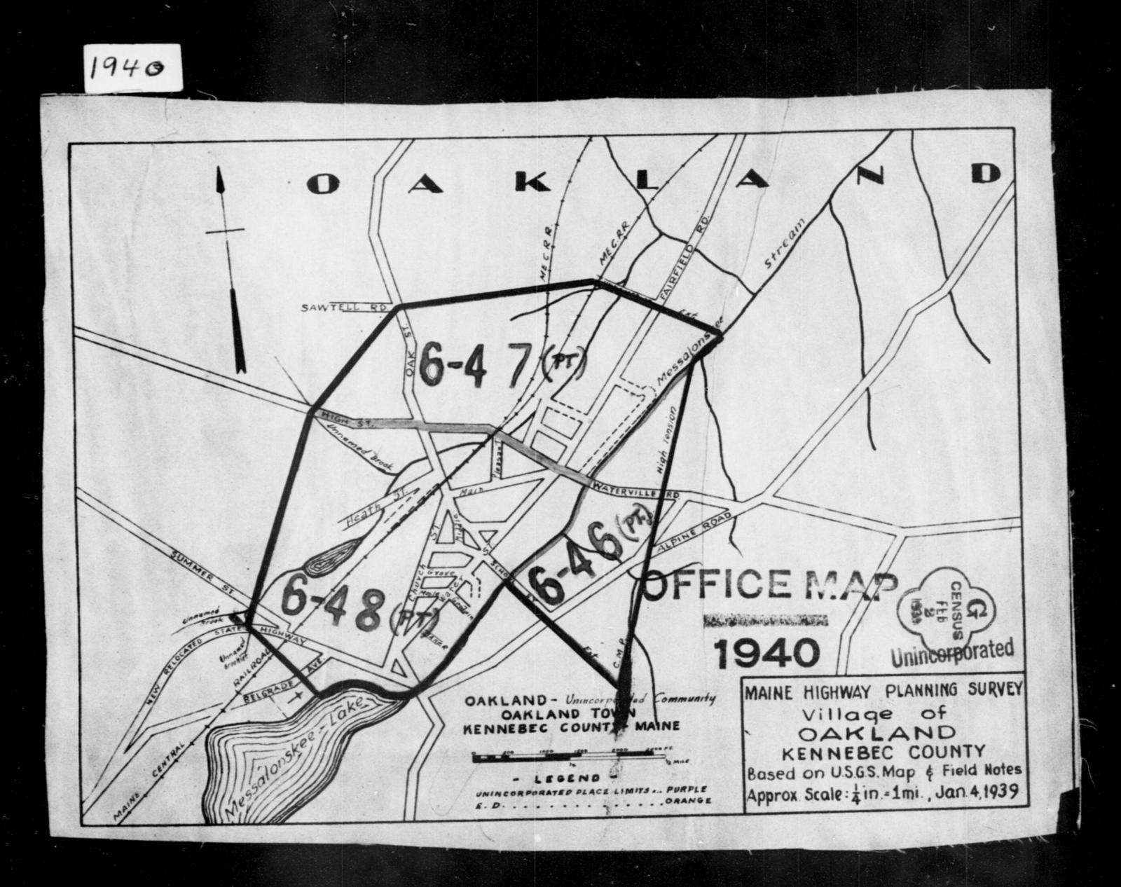 1940 Census Enumeration District Maps Maine Kennebec County
