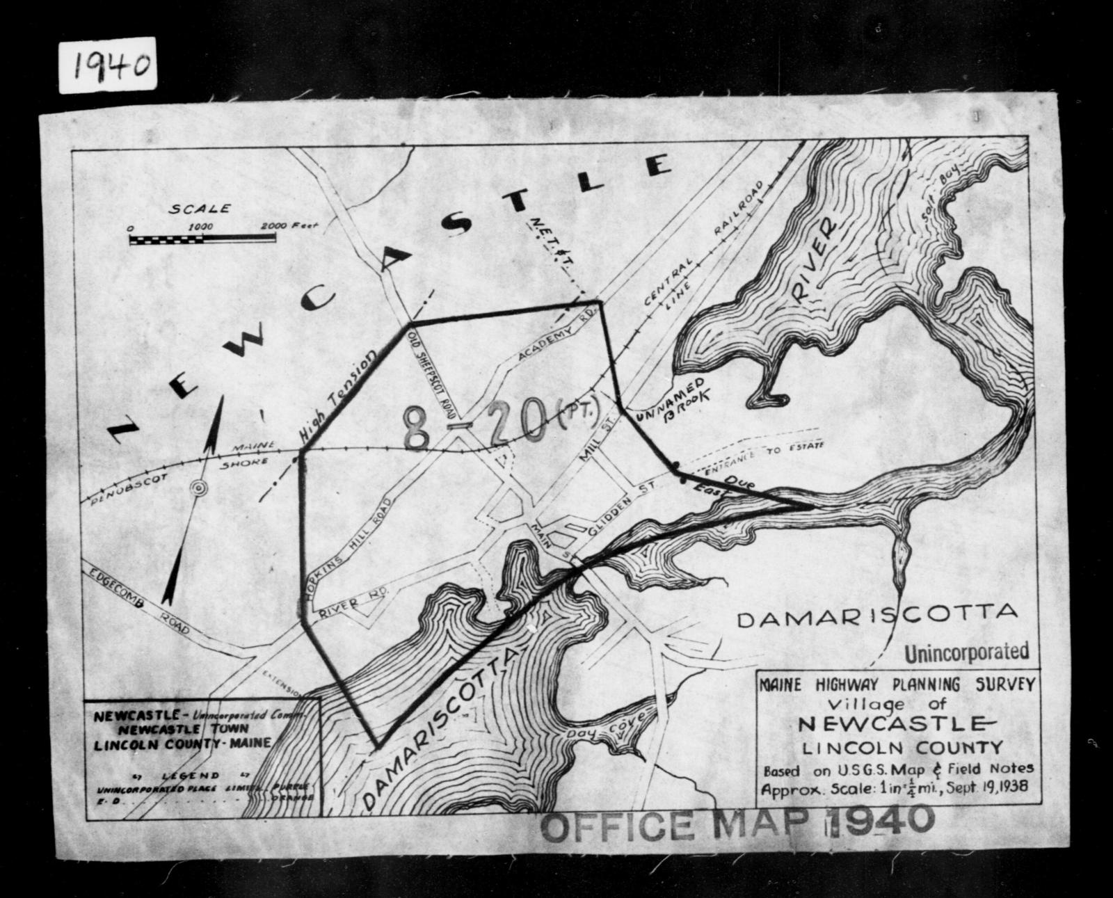 1940 Census Enumeration District Maps - Maine - Lincoln County - Newcastle - ED 8-20