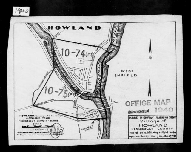 1940 Census Enumeration District Maps - Maine - Penobscot County - Howland - ED 10-74, ED 10-75