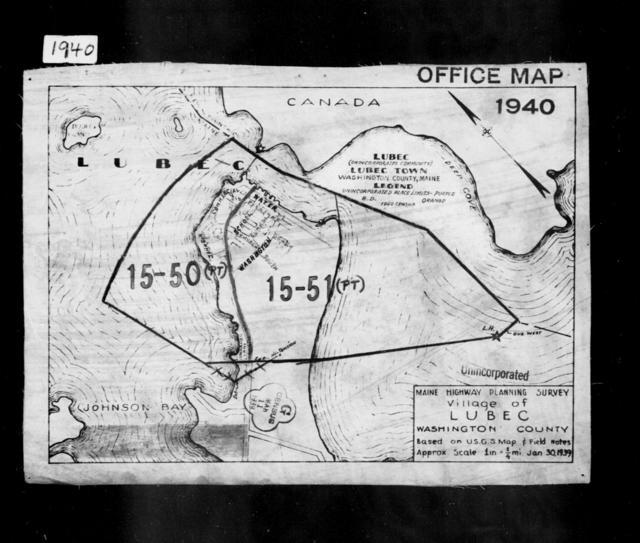 1940 Census Enumeration District Maps - Maine - Washington County - Lubec - ED 15-50, ED 15-51, ED 15-53, ED 15-54