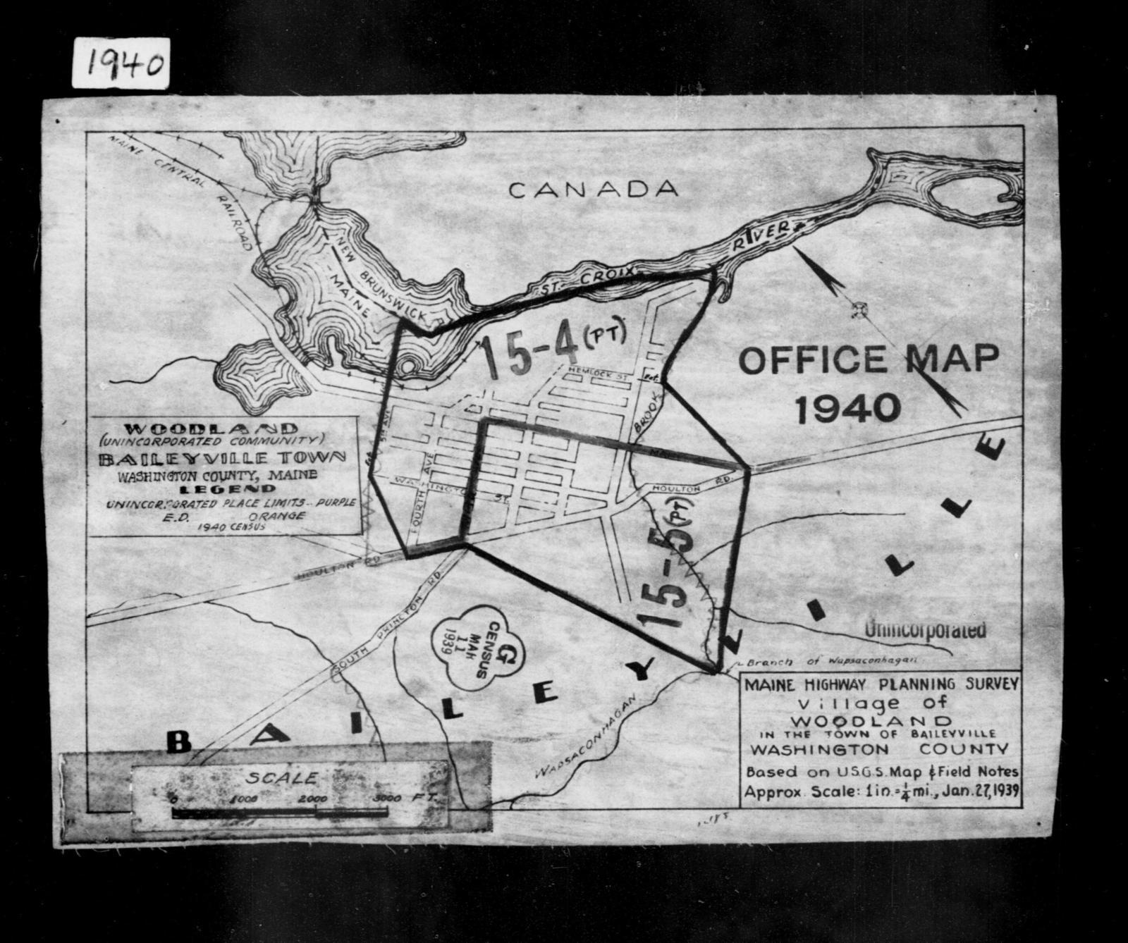 1940 Census Enumeration District Maps Maine Washington County