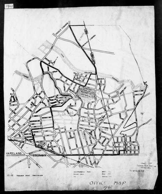 1940 Census Enumeration District Maps - Maryland - Montgomery County - Takoma Park - ED 16-44, ED 16-45, ED 16-46, ED 16-47, ED 16-48