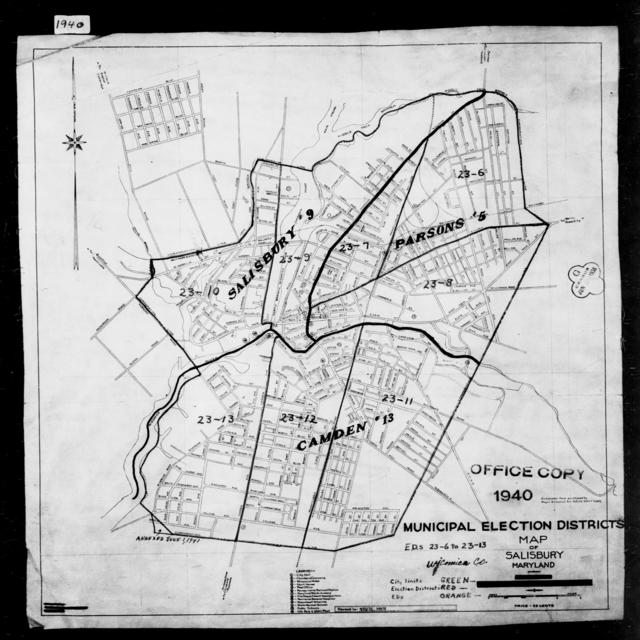 1940 Census Enumeration District Maps - Maryland - Wicomico County - Salisbury - ED 23-6, ED 23-7, ED 23-8, ED 23-9, ED 23-10, ED 23-11, ED 23-12, ED 23-13