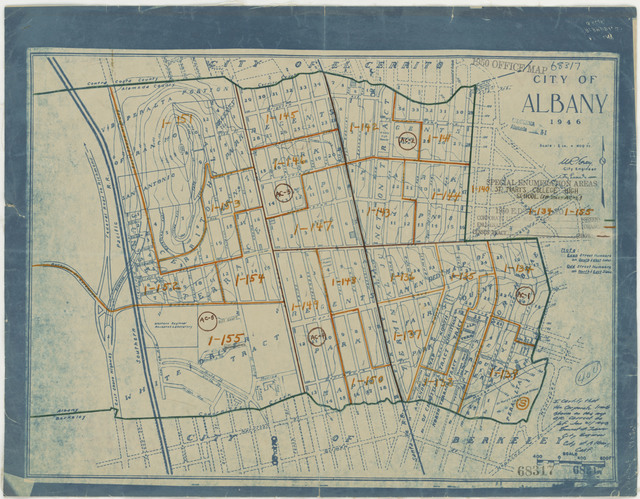1950 Census Enumeration District Maps - California (CA) - Alameda County - Albany - ED 1-134 to 155