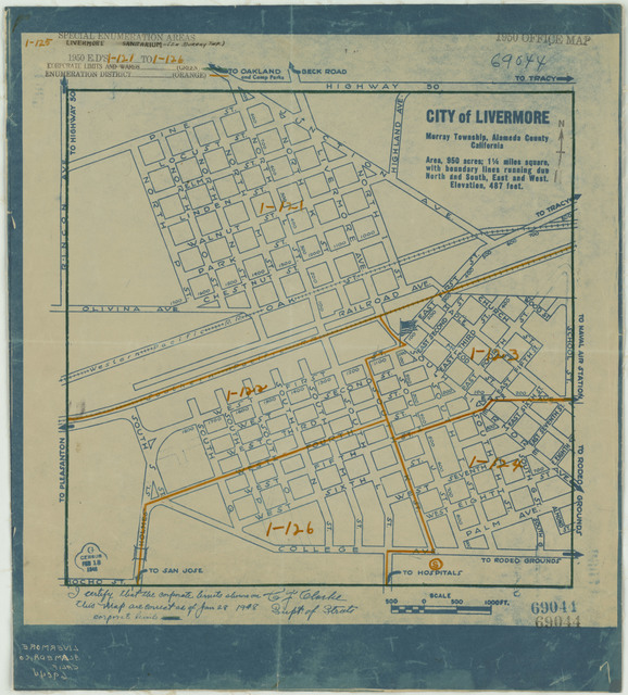 1950 Census Enumeration District Maps - California (CA) - Alameda County - Livermore - ED 1-121 to 126