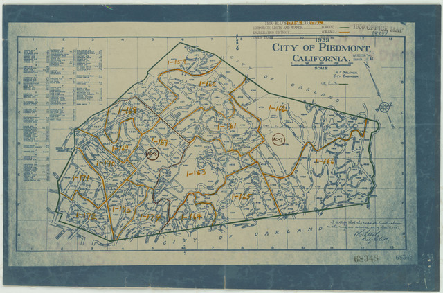 1950 Census Enumeration District Maps - California (CA) - Alameda County - Piedmont - ED 1-159 to 174